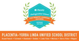 i-Ready award for PYLUSD schools.