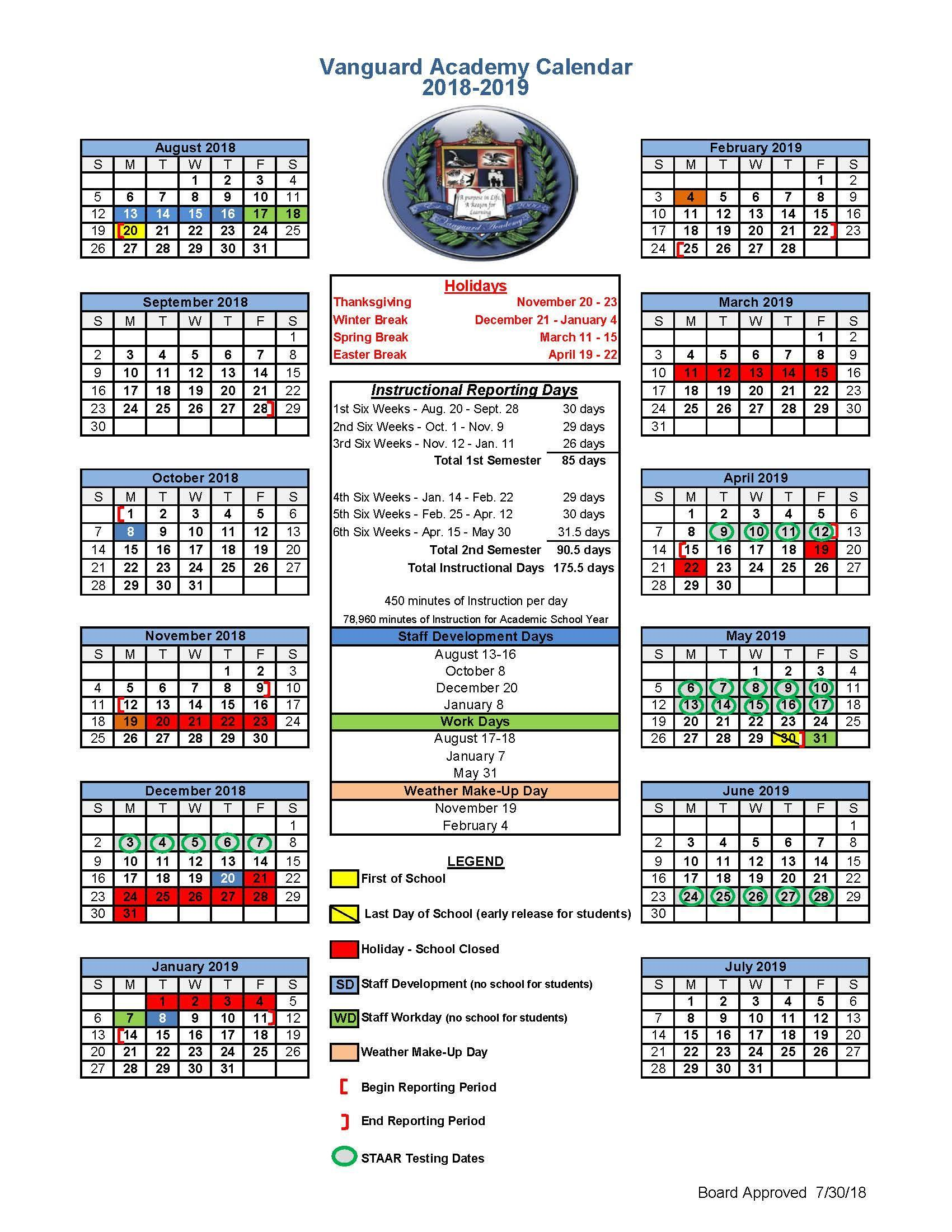 District Calendar District Calendar Vanguard Academy Charter School