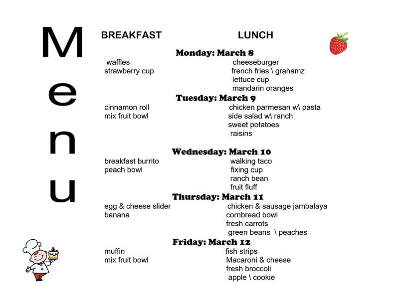 MARCH 8-12 Breakfast/Lunch menu (click here) Thumbnail Image