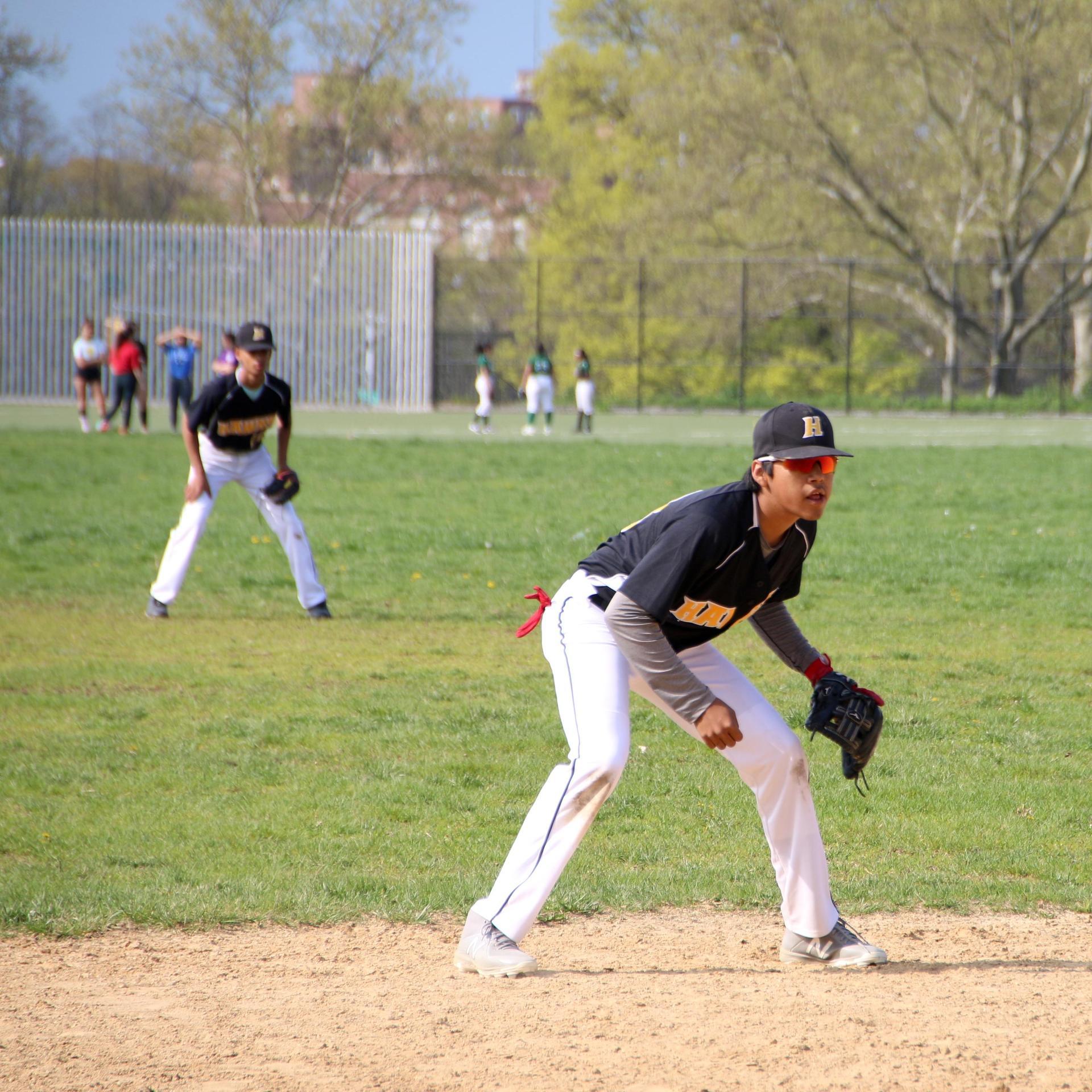Shortstop fielding the ball.