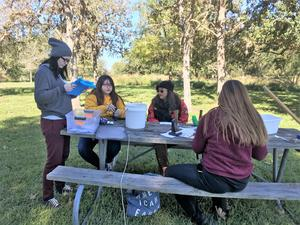victoria east high school students on a field trip at coleto creek park