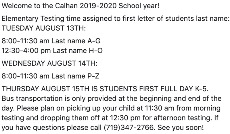Elementary Testing Dates for 2019-2020 School Year Featured Photo