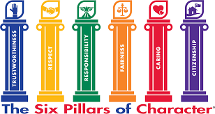 6 pillars of different colors, each naming a charater trait.