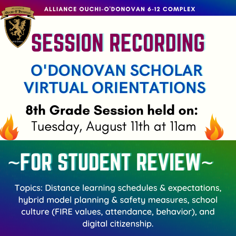Session Recording and Informational Slides: 8th Grade Orientation held on 8/11 Thumbnail Image