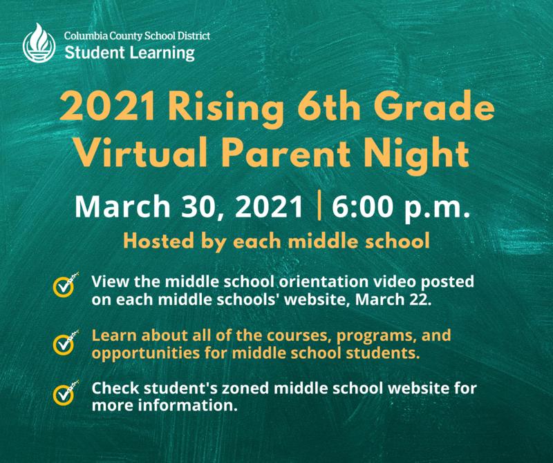 Rising 6th Graders Virtual Parent Night