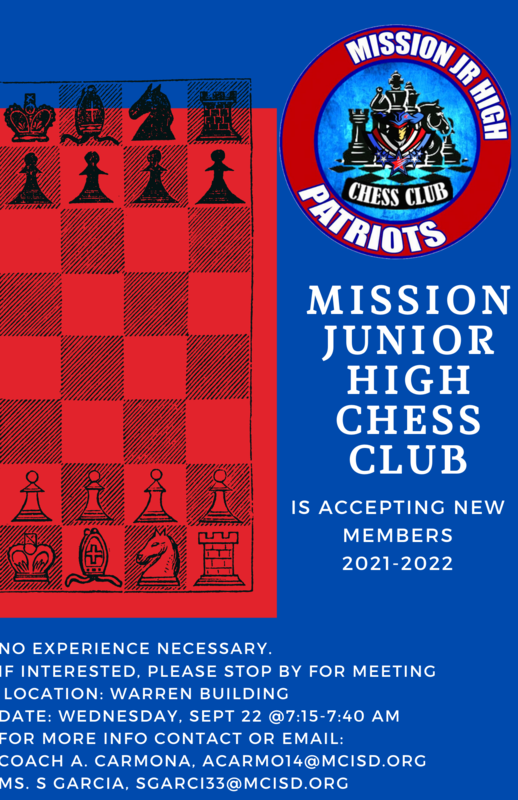 Mission Junior High Chess Club flyer.