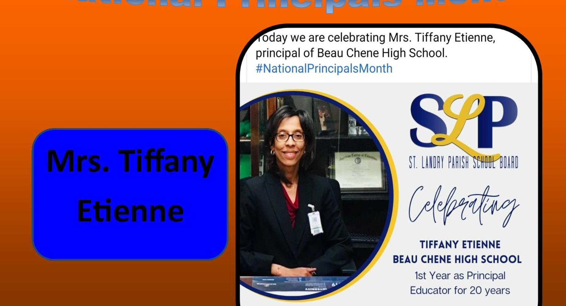 National Principals Month - Mrs. Tiffany Etienne - 2020-2021
