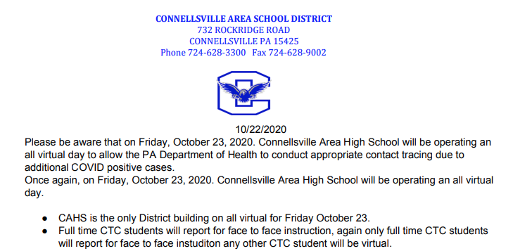 Connellsville Area High School will continue to operate