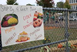 Photo of sign advertising annual Pumpkin Patch at Lincoln School.