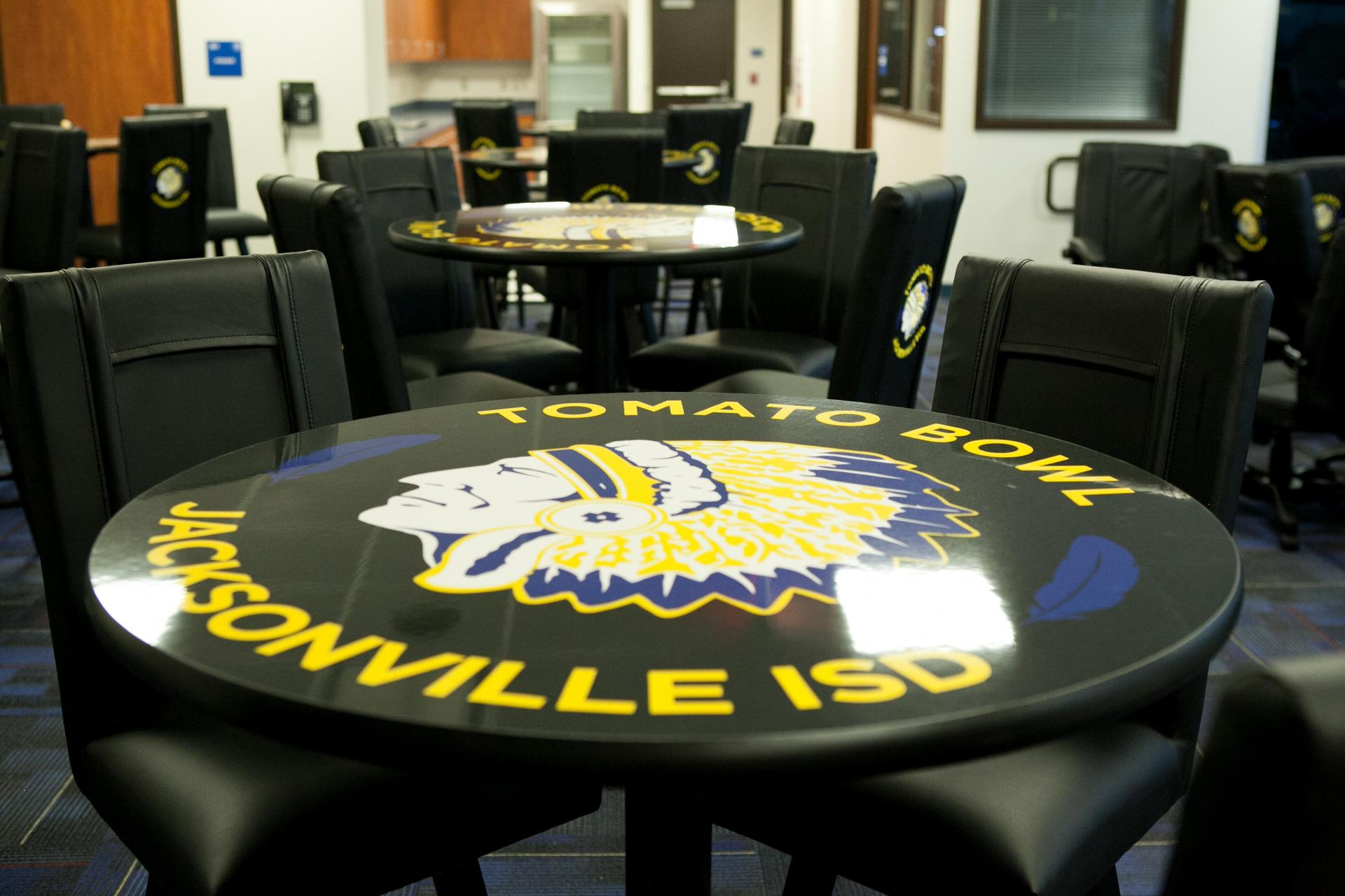 table  in the press box
