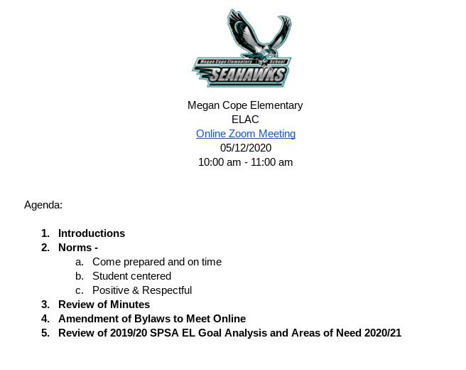 05/12/2020 ELAC Meeting Agenda