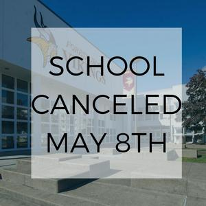 School Canceled May 8th with FGHS in the background