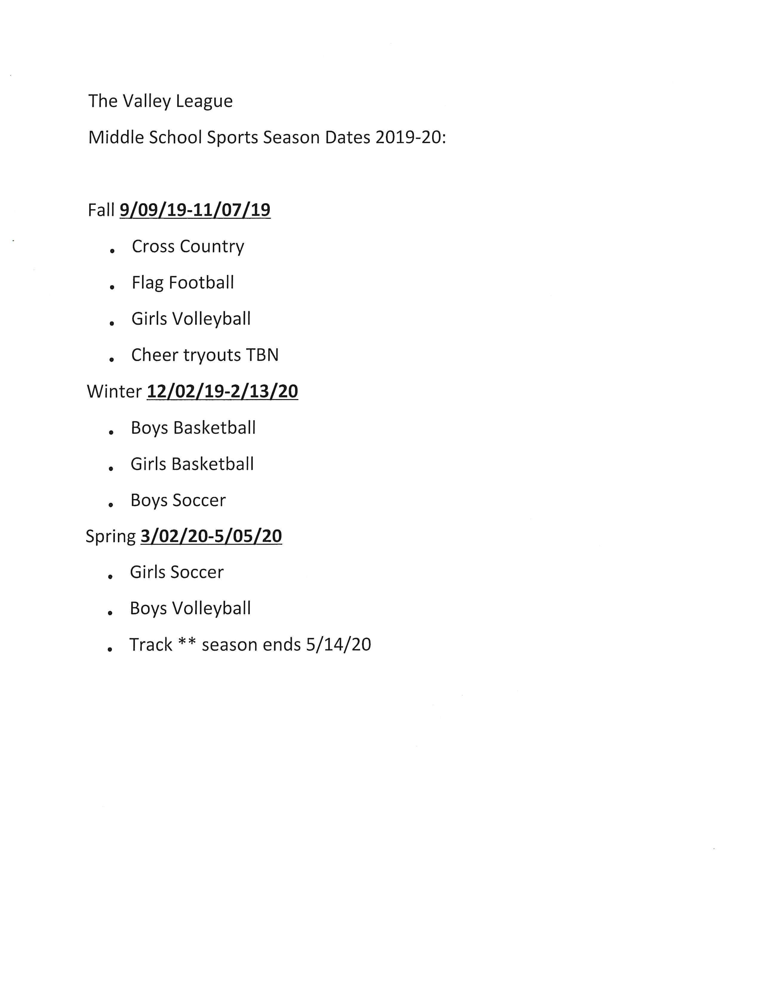 Middle School Sports Season Dates 2019/2020