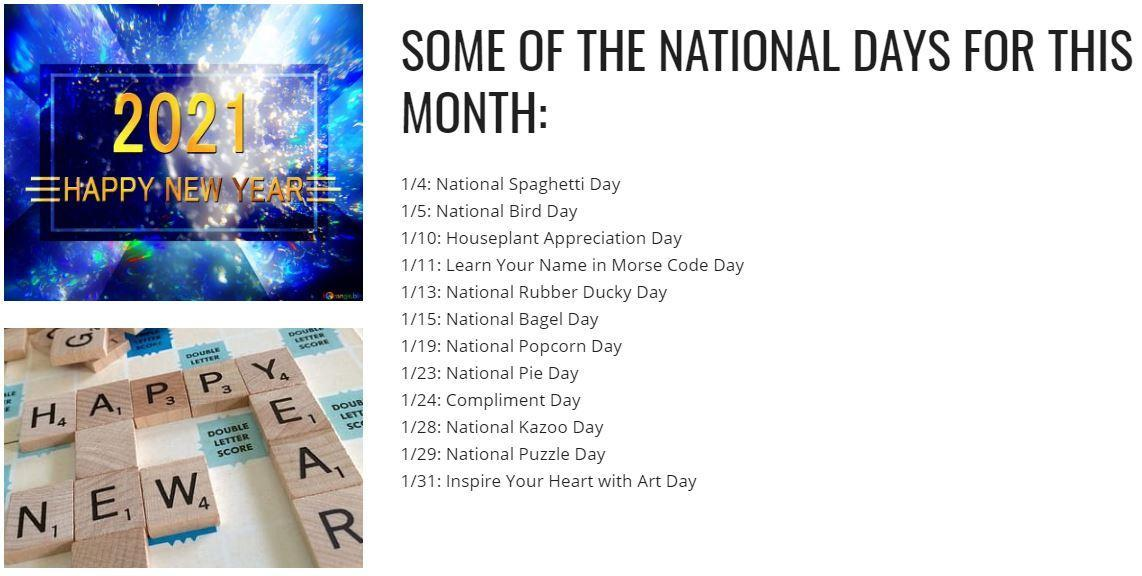 List of national days for January