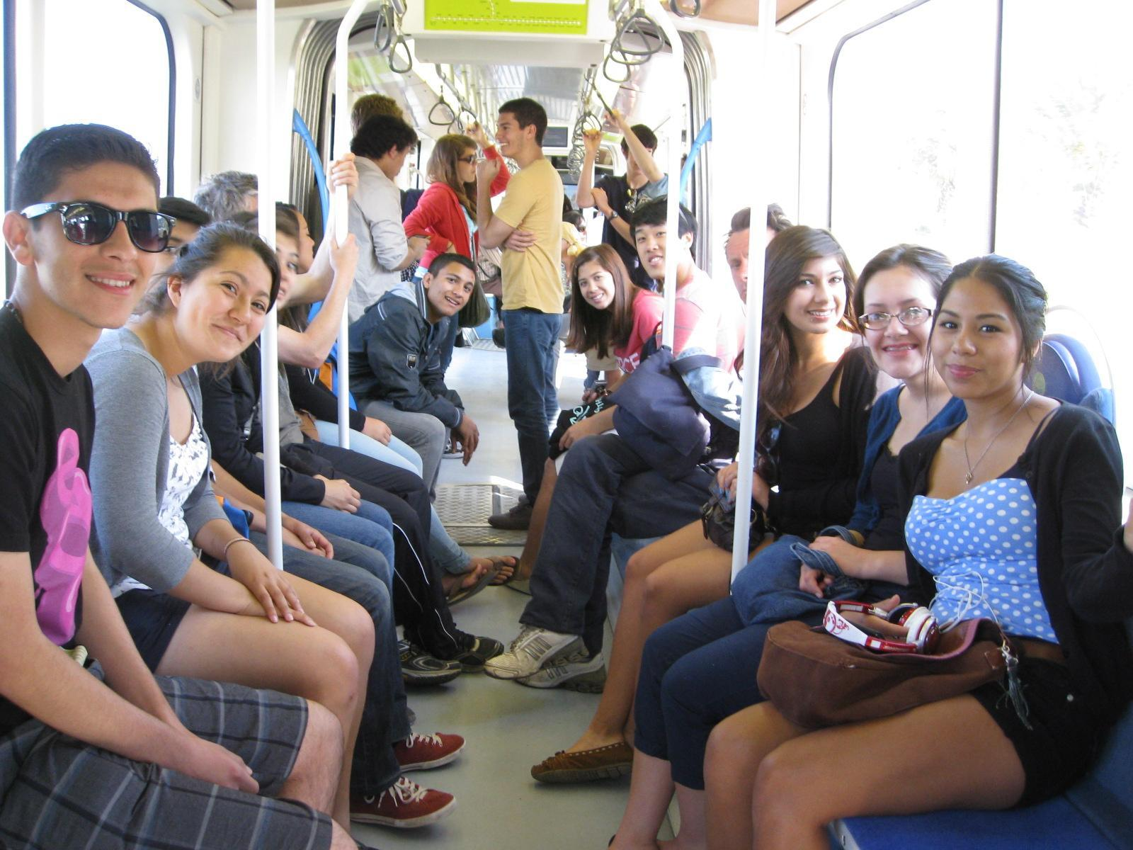 Students on the train in Athens, Greece.