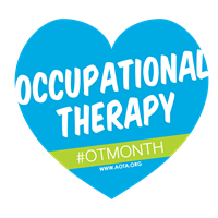 Blue Heart that says Occupational Therapy Month