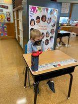 kindergarten student in mask