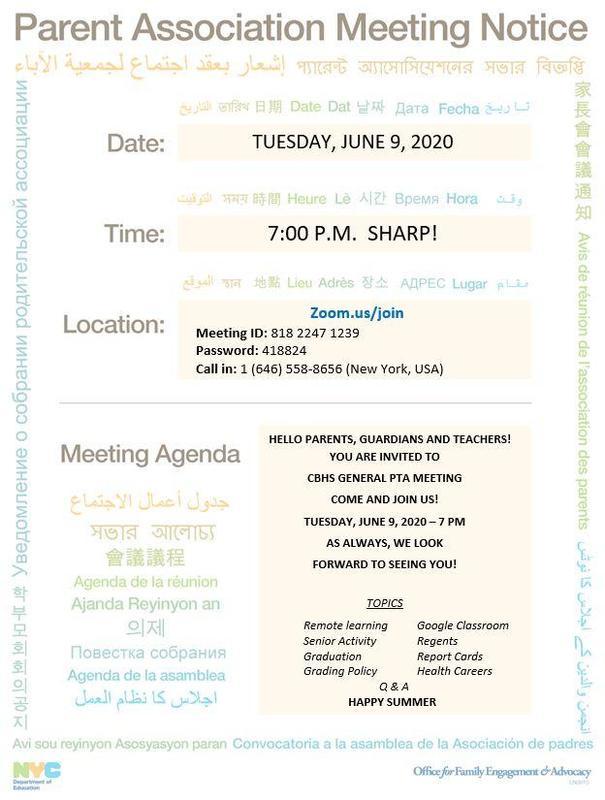 June Parents Association Meeting flyer