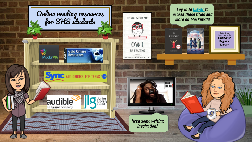Online Reading Resources for SHS Students: MackinVIA, Gale Online Resources, Sync, Junior Library Guild, Audible