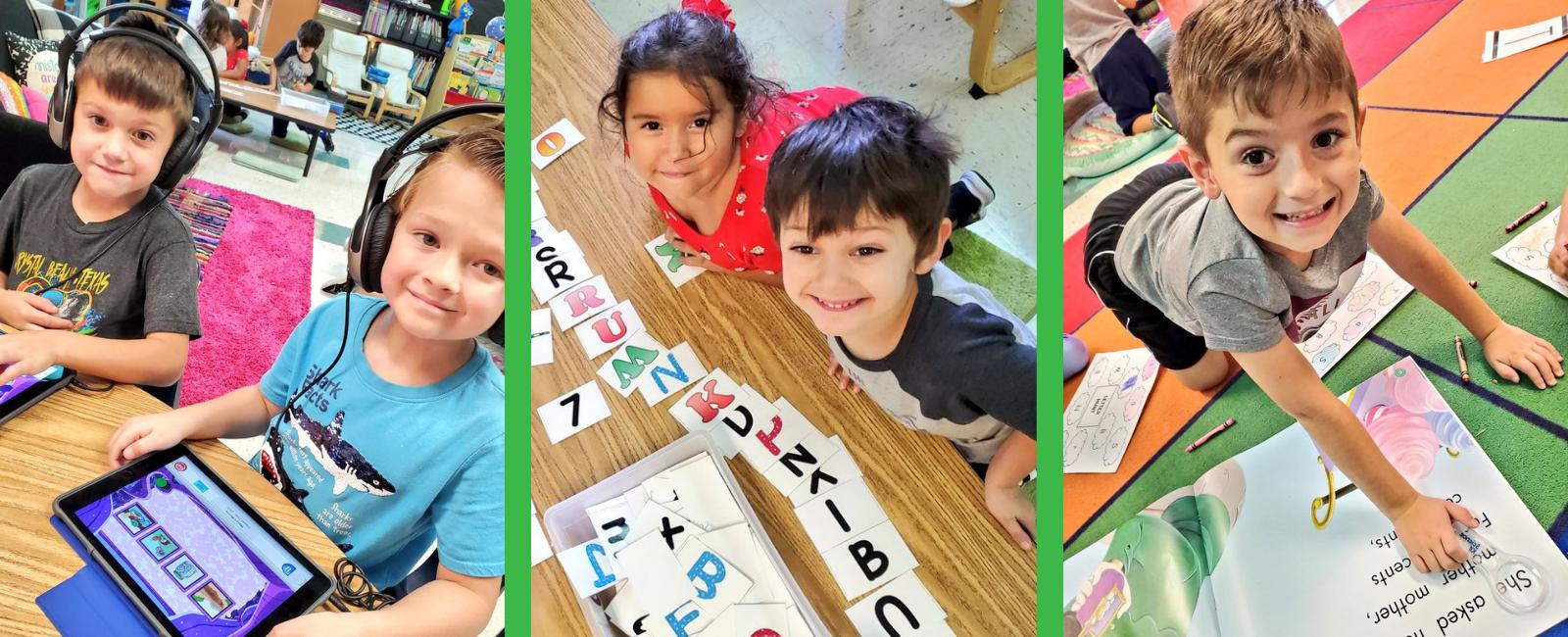 Kindergarten students working on literacy