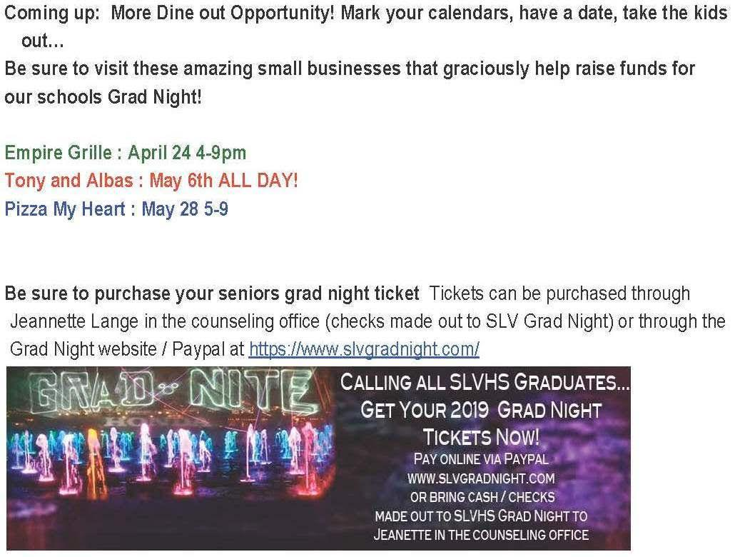Grad Night News call 3354425 for details