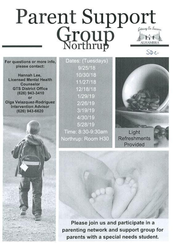 Parent Support Group at Northrup room H-30 (Tuesday Mornings as of 09/25/18 8:30a.m.) Featured Photo