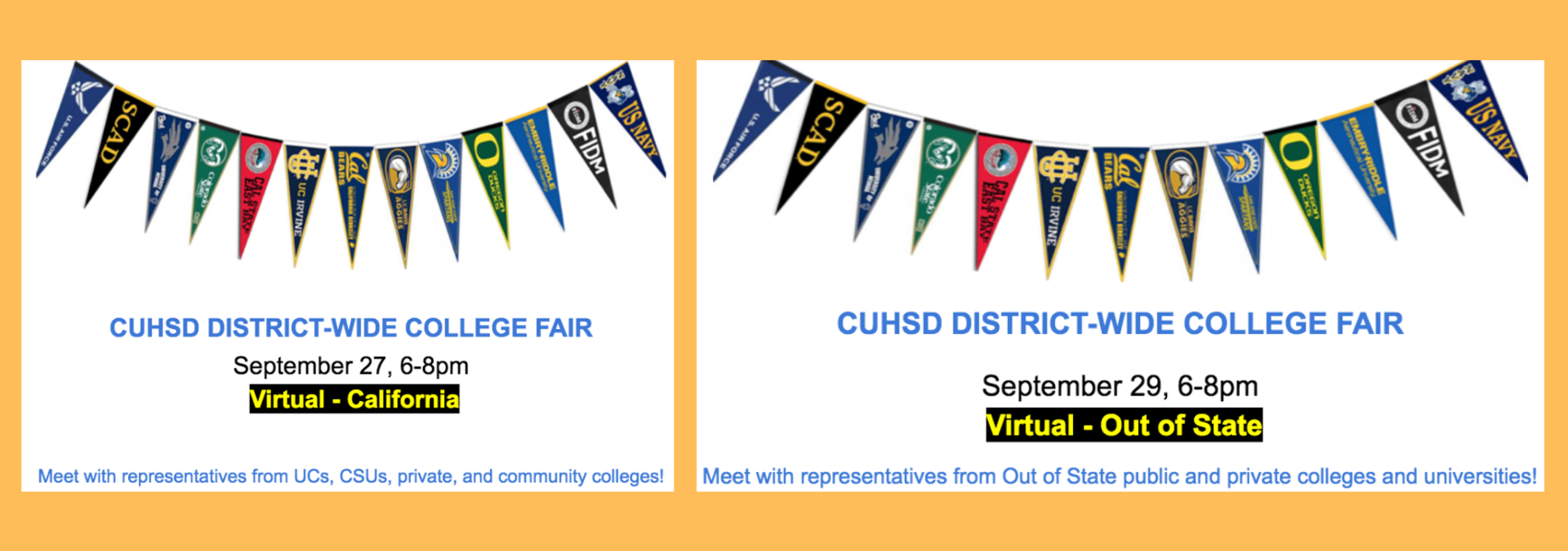 district wide college fairs on september 27 and 29