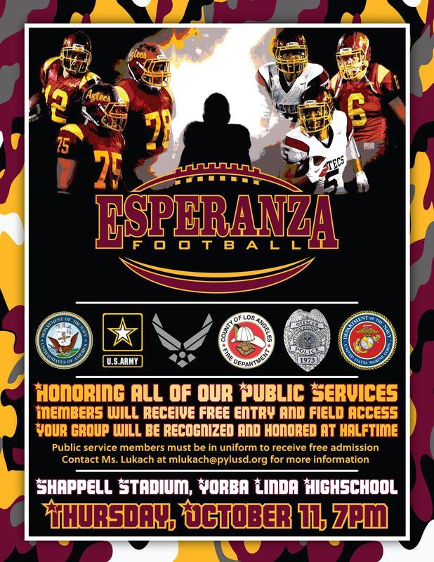 Public Service Night at the Esperanza Football Game- Thurs, Oct 11th Thumbnail Image