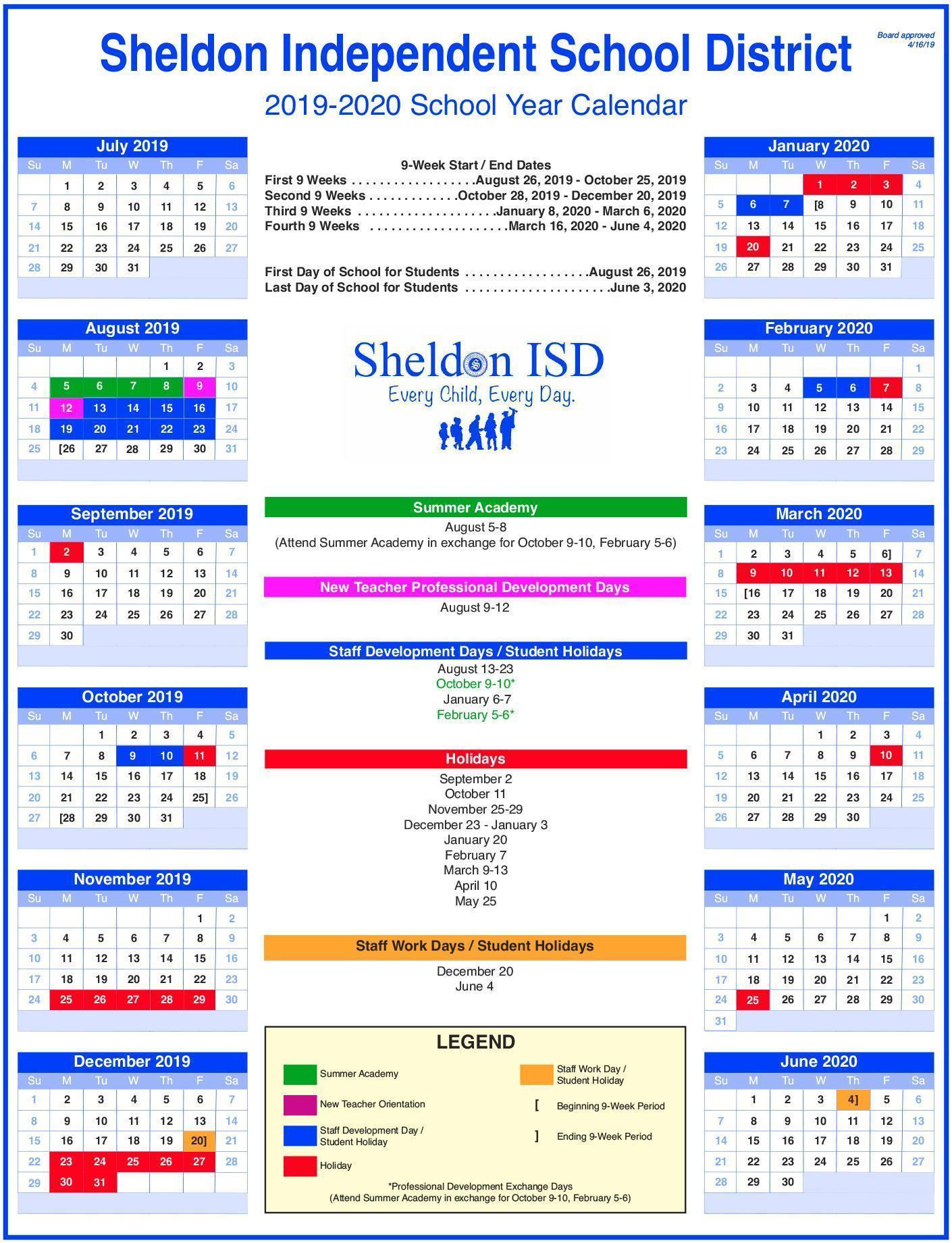 Sheldon ISD School Year Calendar Image