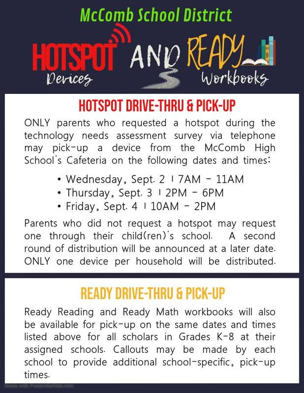 McComb School District Hotspot Drive-Thru & Pick-Up Information  Provided by the McComb School District Community Engagement Department. #ItsComeBackTime