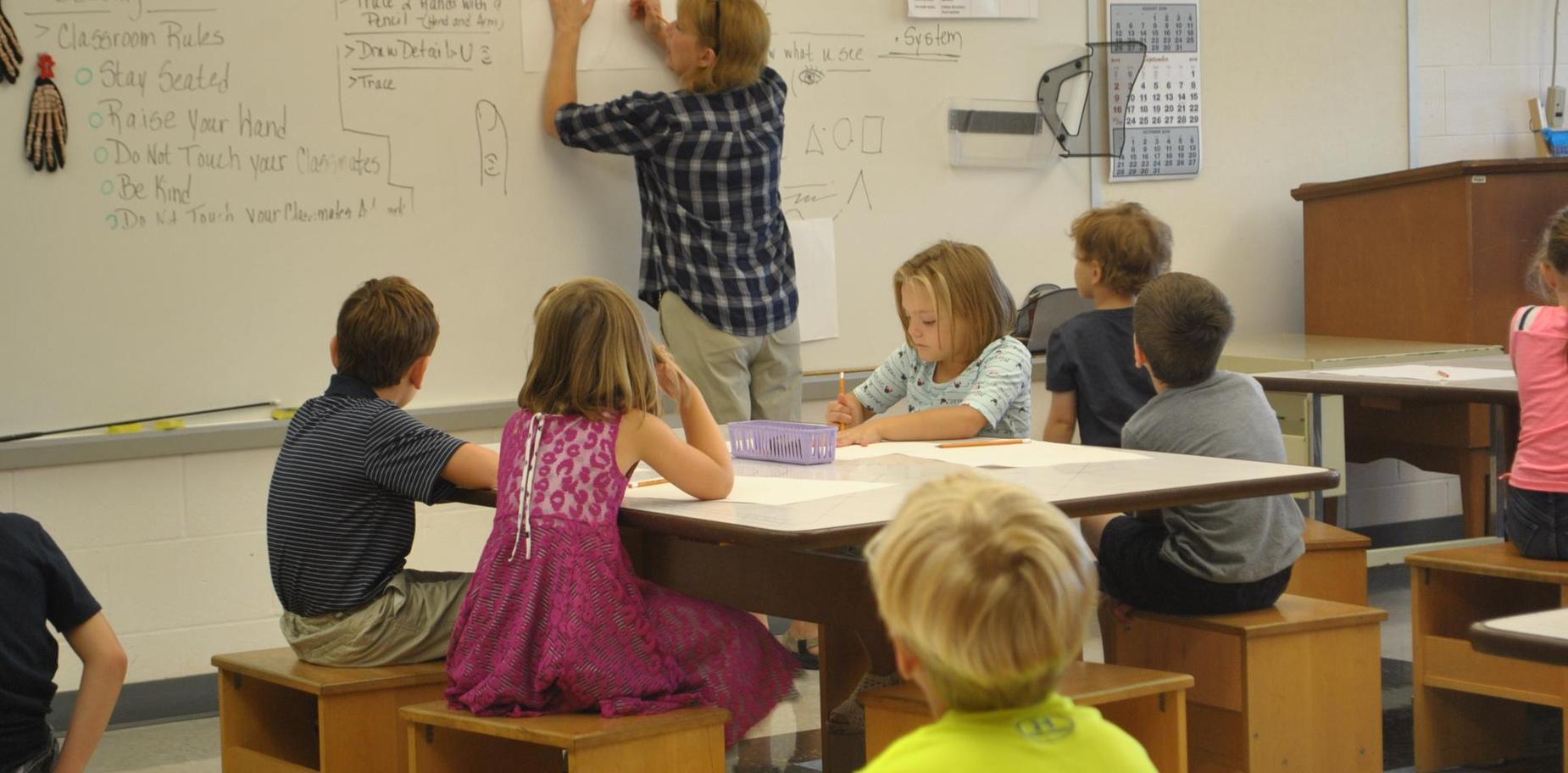 Teacher in Art Class