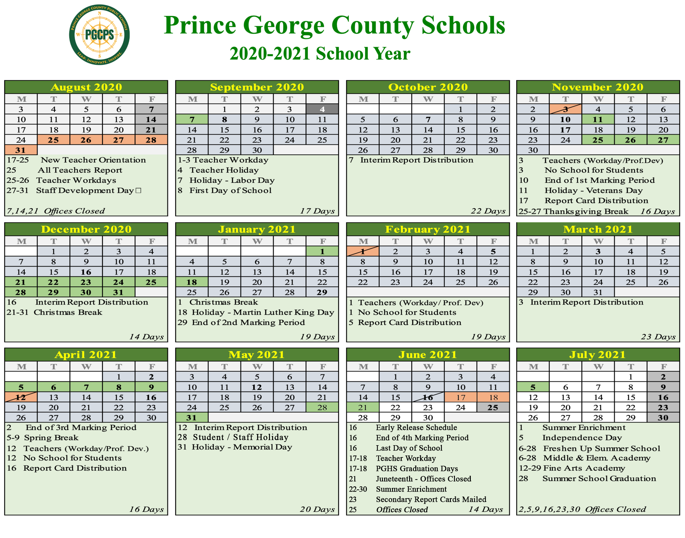 Pgcps Calendar 2022.2020 21 School Year Calendar About Us Prince George County Public Schools