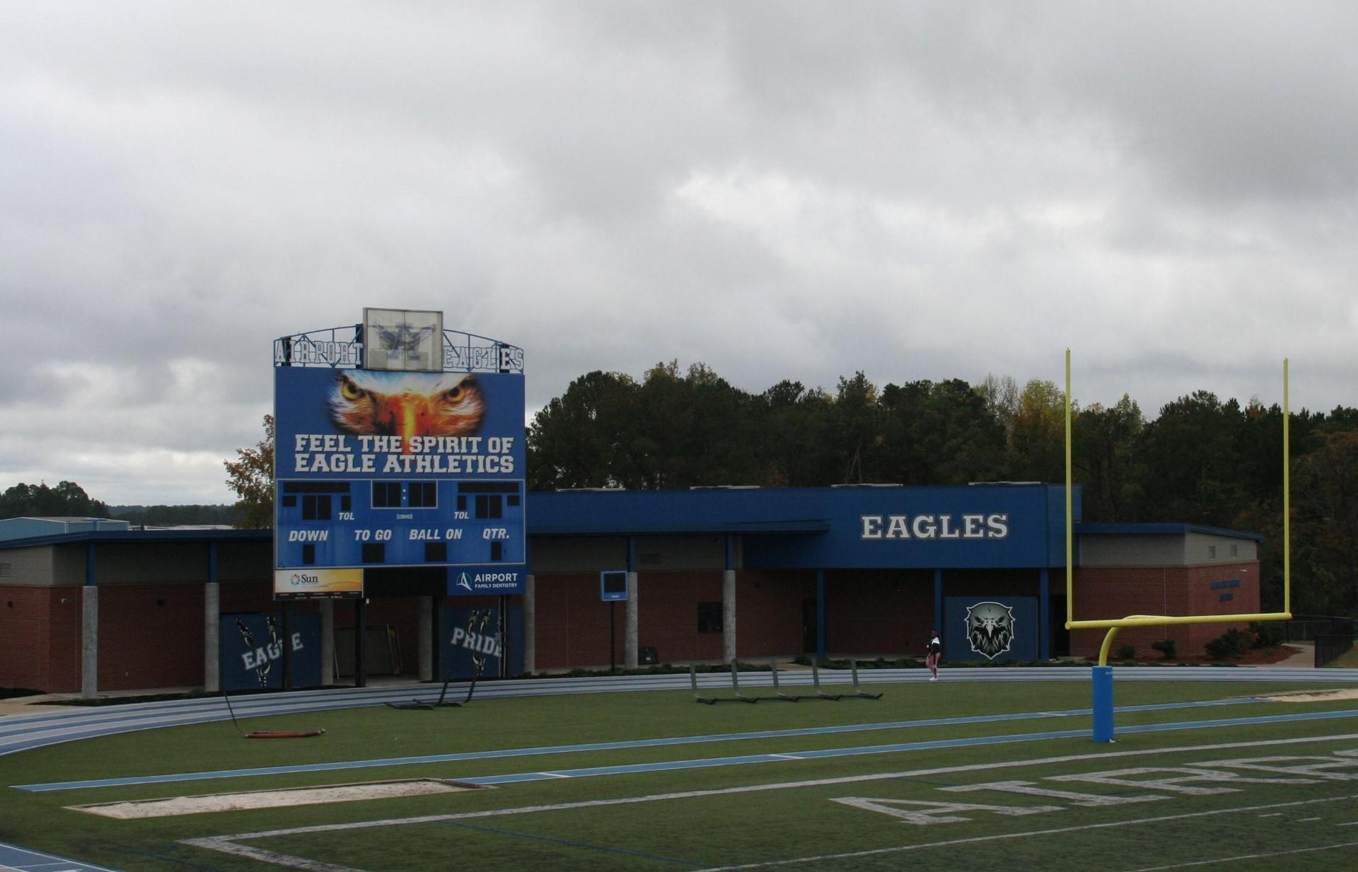 NEW FIELD HOUSE PICTURED FROM VISITOR SIDE