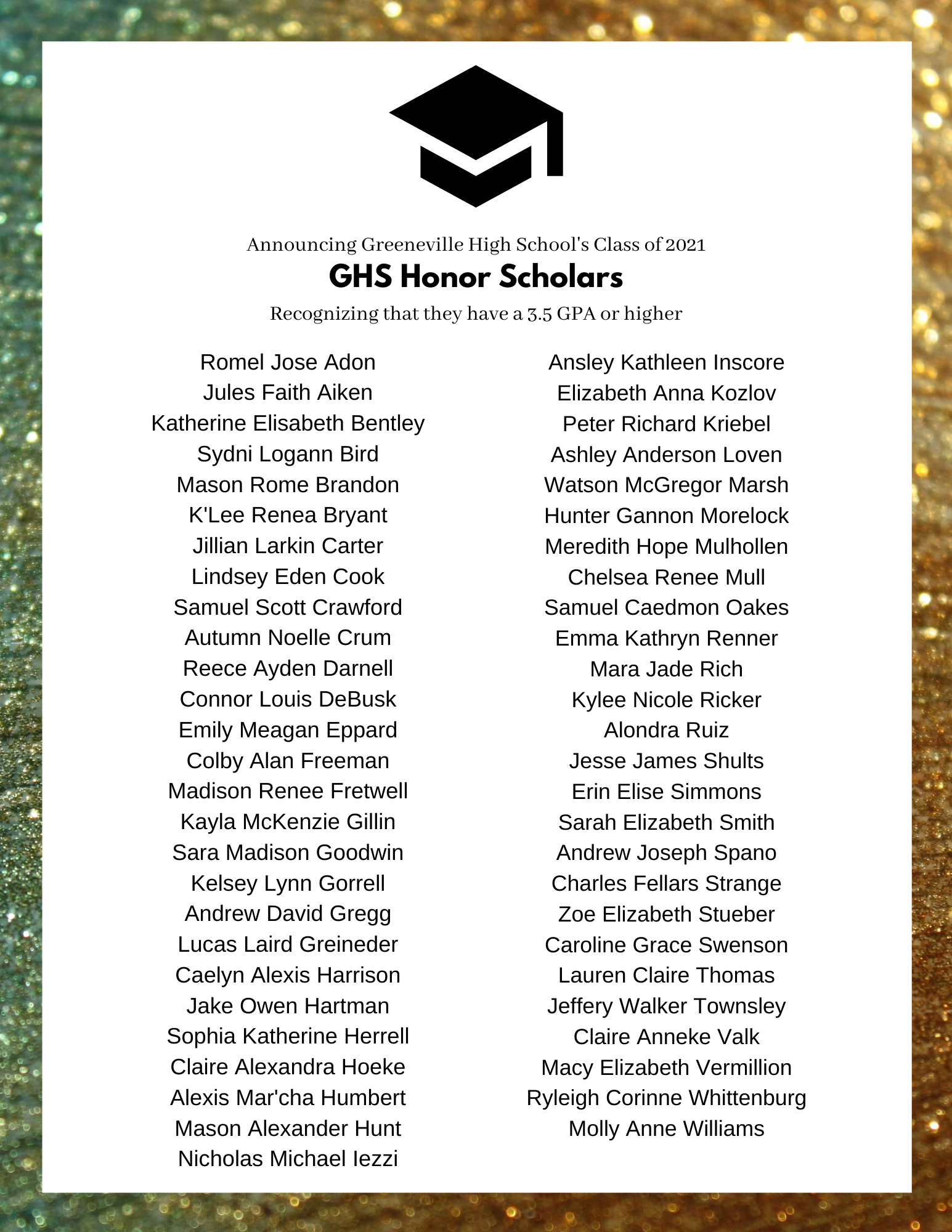 Class of 2021 GHS Honor Scholars