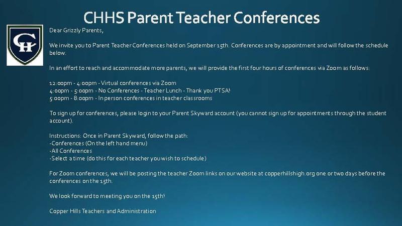 Fall Parent Teacher Conferences 2021