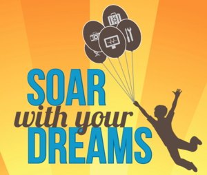 Soar with your dreams logo -- outline of a student being lifted off the ground by balloons with different careers