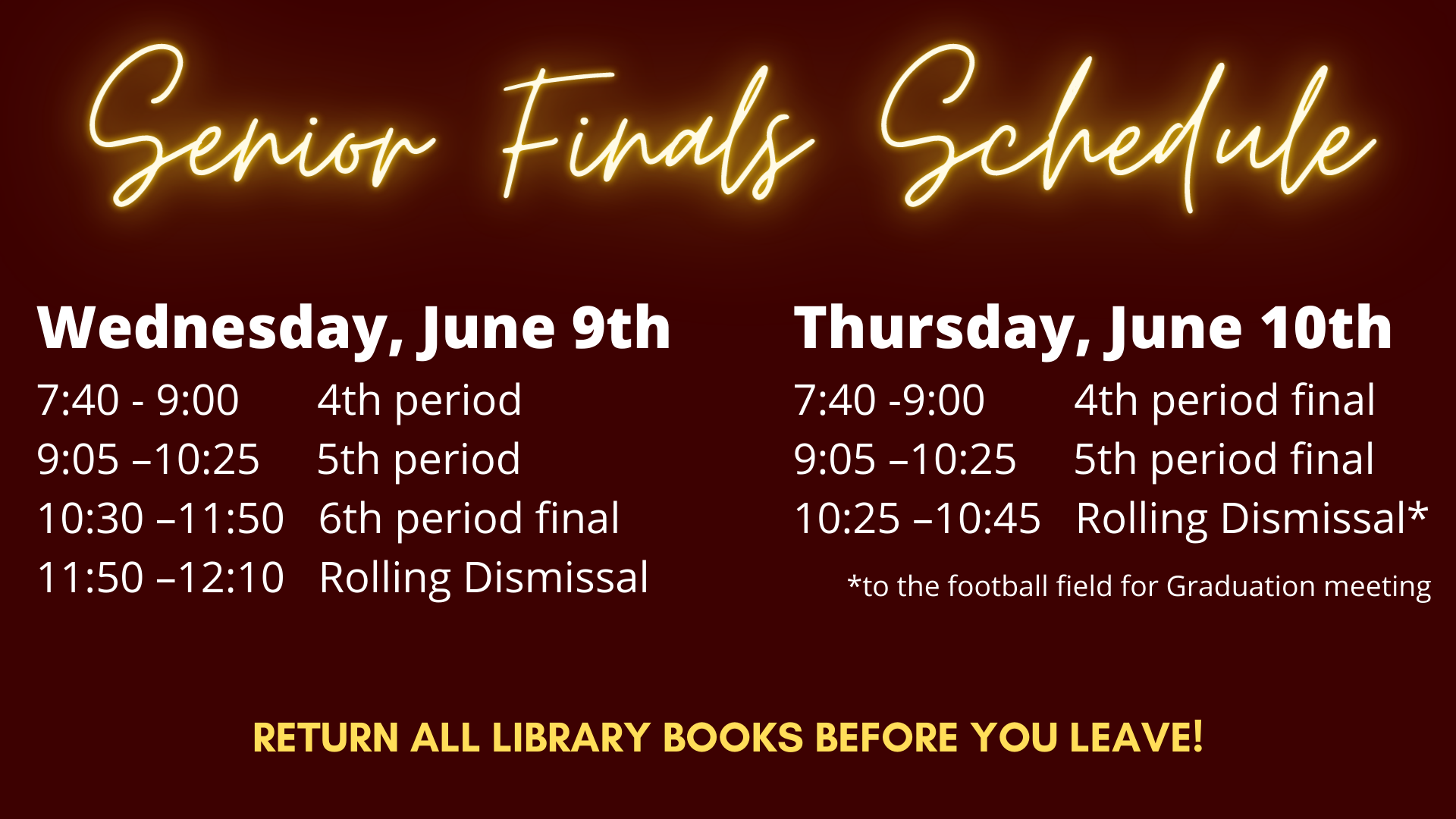 senior finals bell schedule