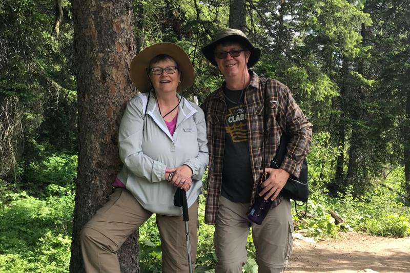 photo of OLSH principal Tim Plocinik and his wife on a hike