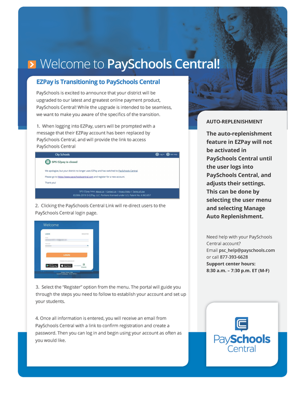 EZ Pay is now PaySchools Central - Transition on 1/4/2021 Featured Photo