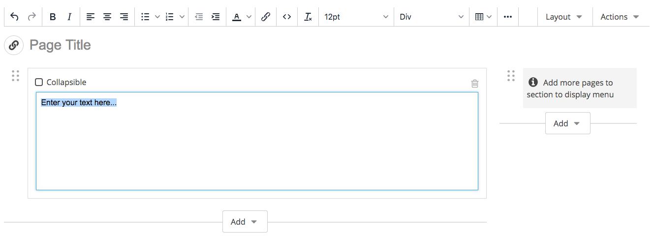 screenshot of empty content block