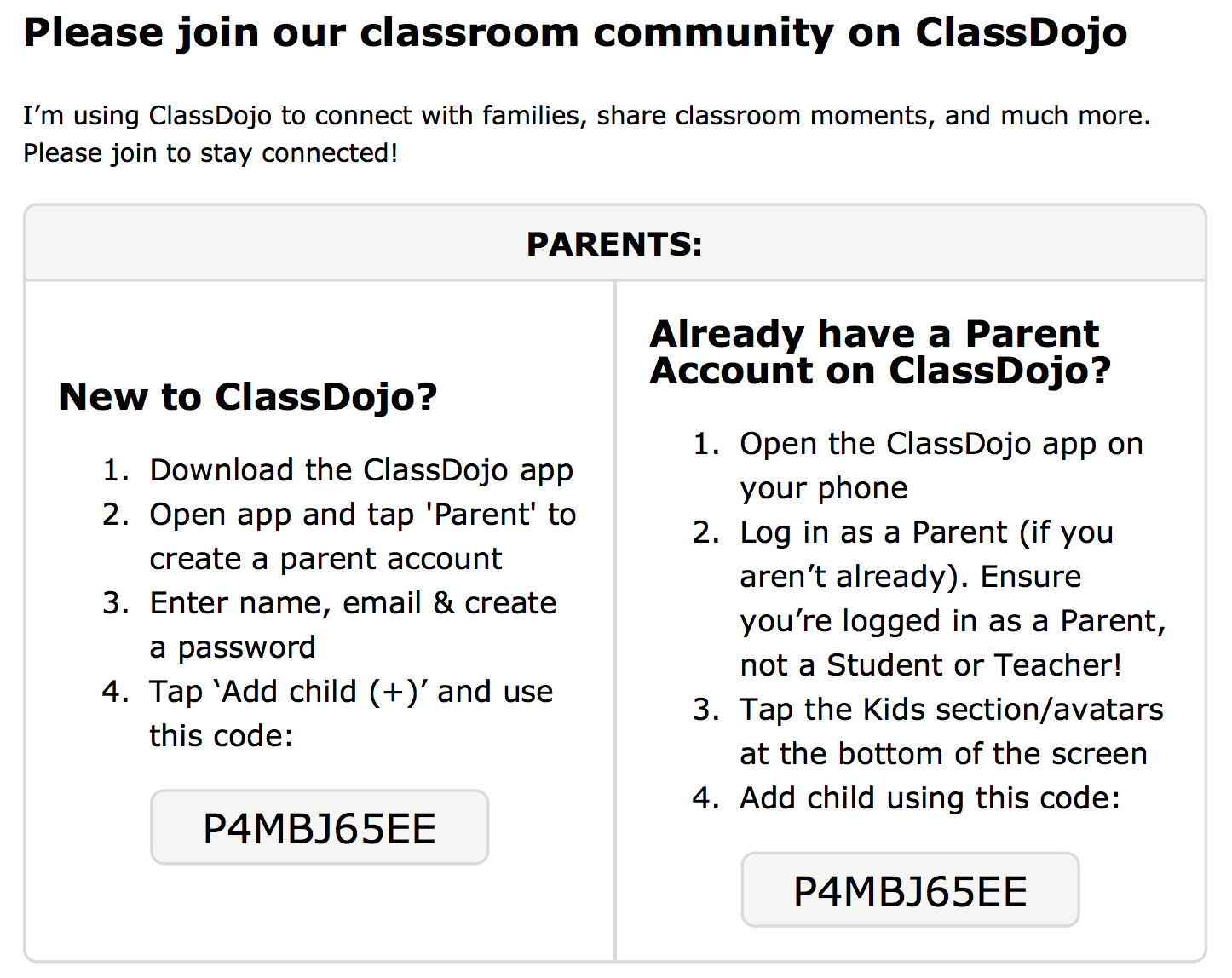 Please join our classdojo team, if you need assistance I can help, I just need your phone number or email address.