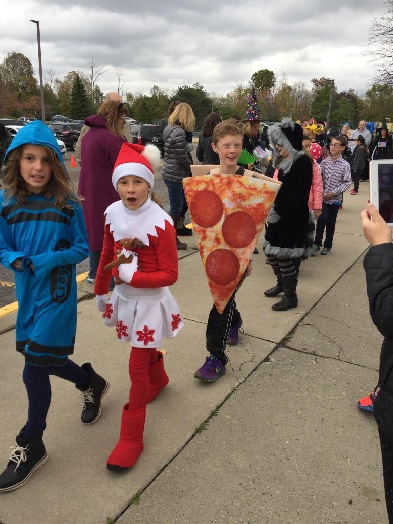 Halloween students in costumes