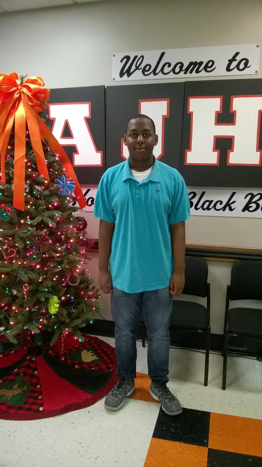 Jaqualyn Dixon, student of the month for December.