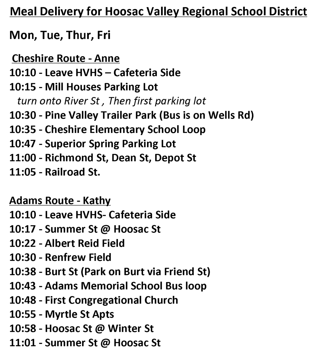 The photo is of bus routes Hoosac Valley School uses to deliver lunch to students around the town -- for more information contact rschutz@hoosacvalley.org