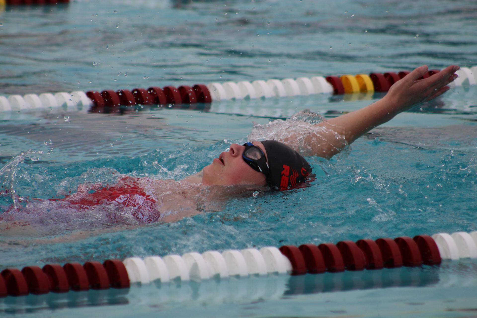 Swimmers competing against McLane.
