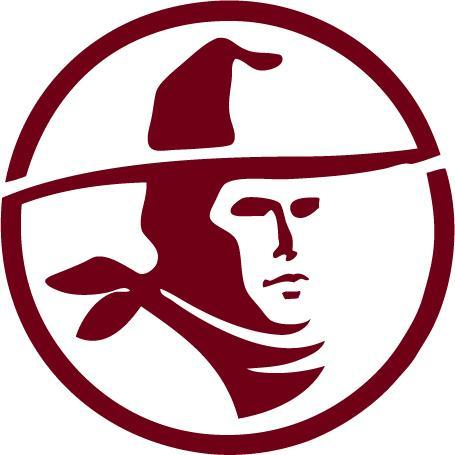 William S. Hart Union High School District logo in burgundy, a silhouette of western actor William S. Hart with a cowboy hat enclosed in a circle