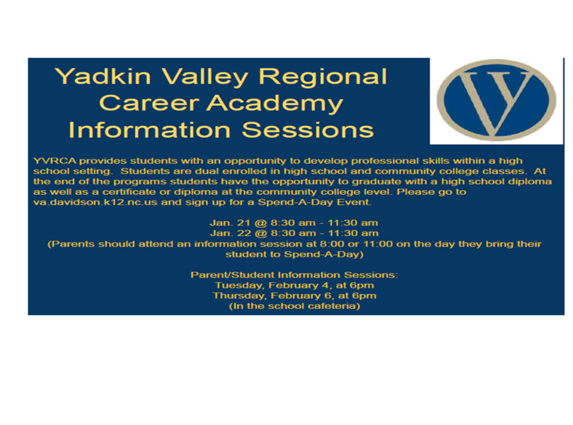 Yadkin Valley Academy Information Sessions