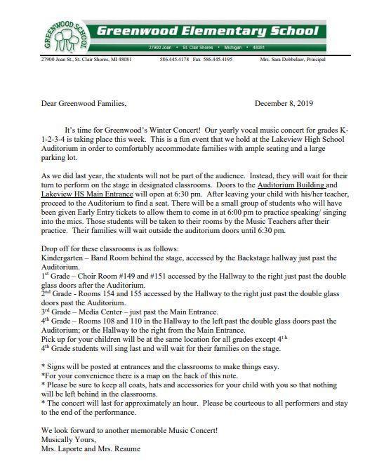 Winter Concert Letter