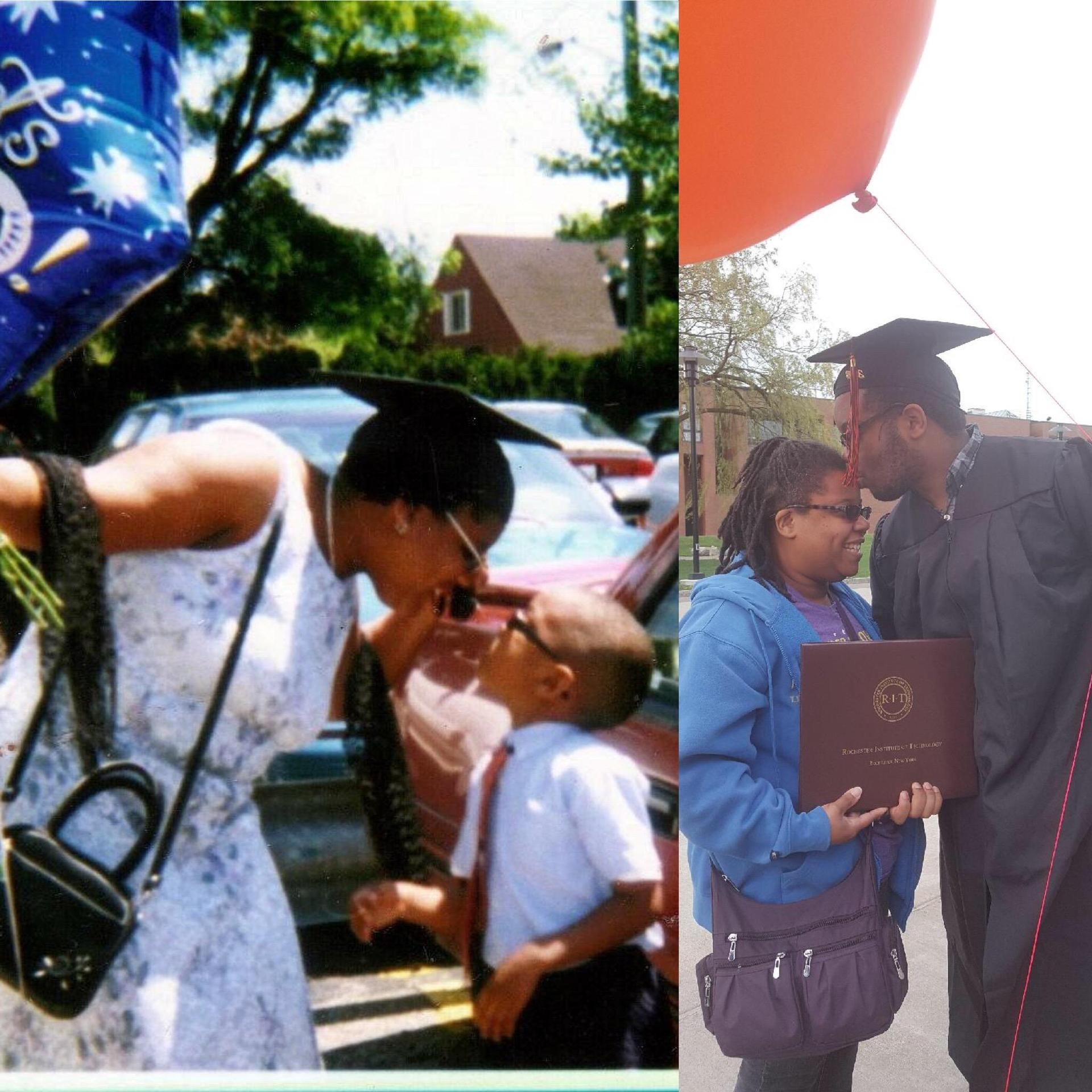My undergraduate commencement in 2001 and my son's undergraduate commencement in 2014