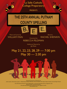 flier for school musical, the 25th annual putnam county spelling bee. poster features cartoon shadows on a stage.